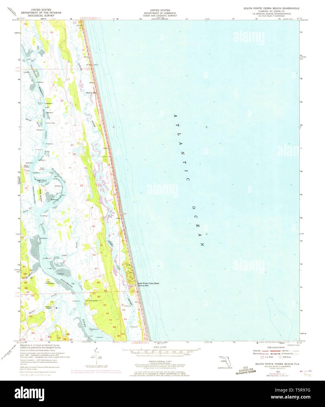 USGS TOPO Map Florida FL South Ponte Vedra Beach 348582 1952 ...