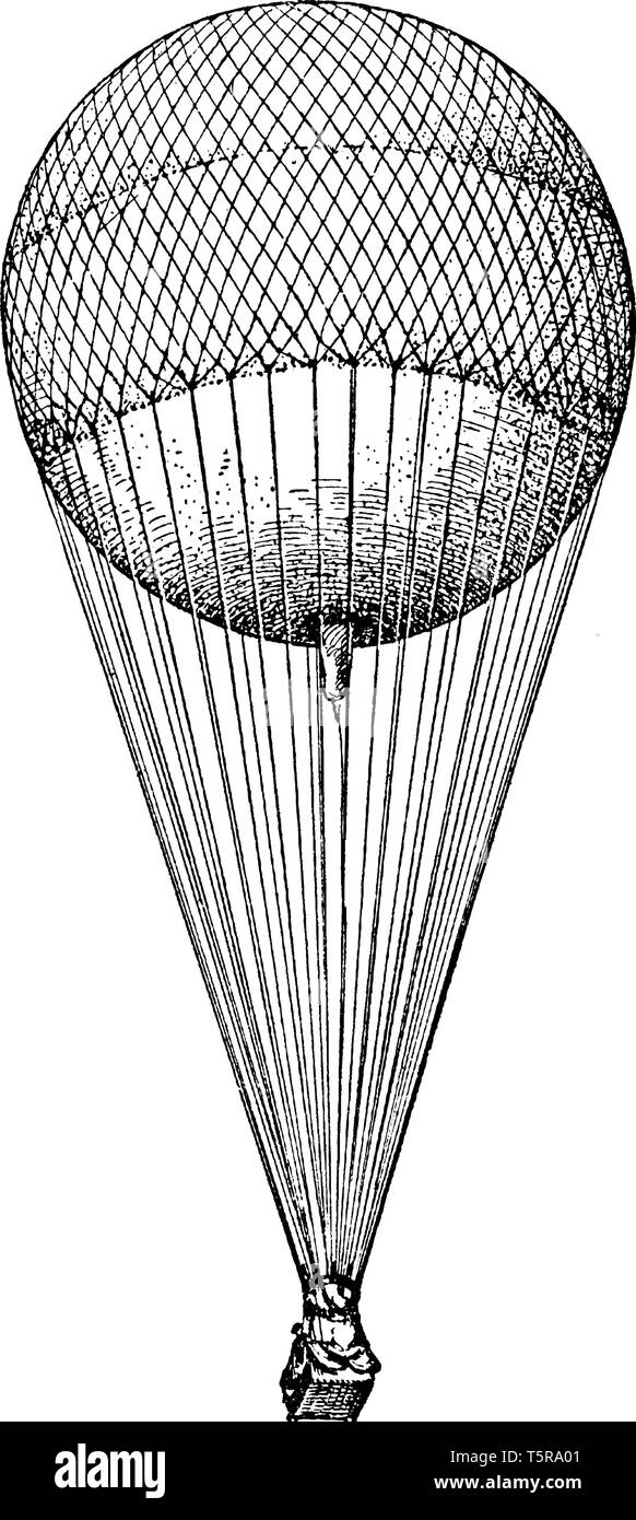 Spherical Balloon is a body whose average density is so much less than that of air that the body will rise, vintage line drawing or engraving illustra Stock Vector