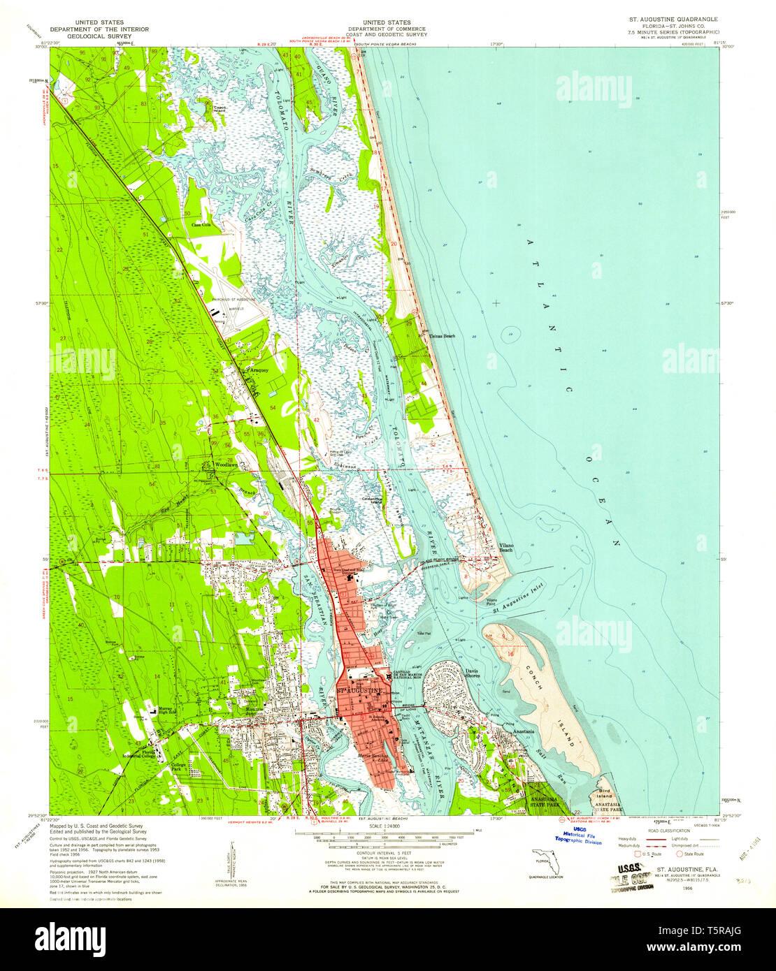St  Augustine Florida Map Stock Photos & St  Augustine