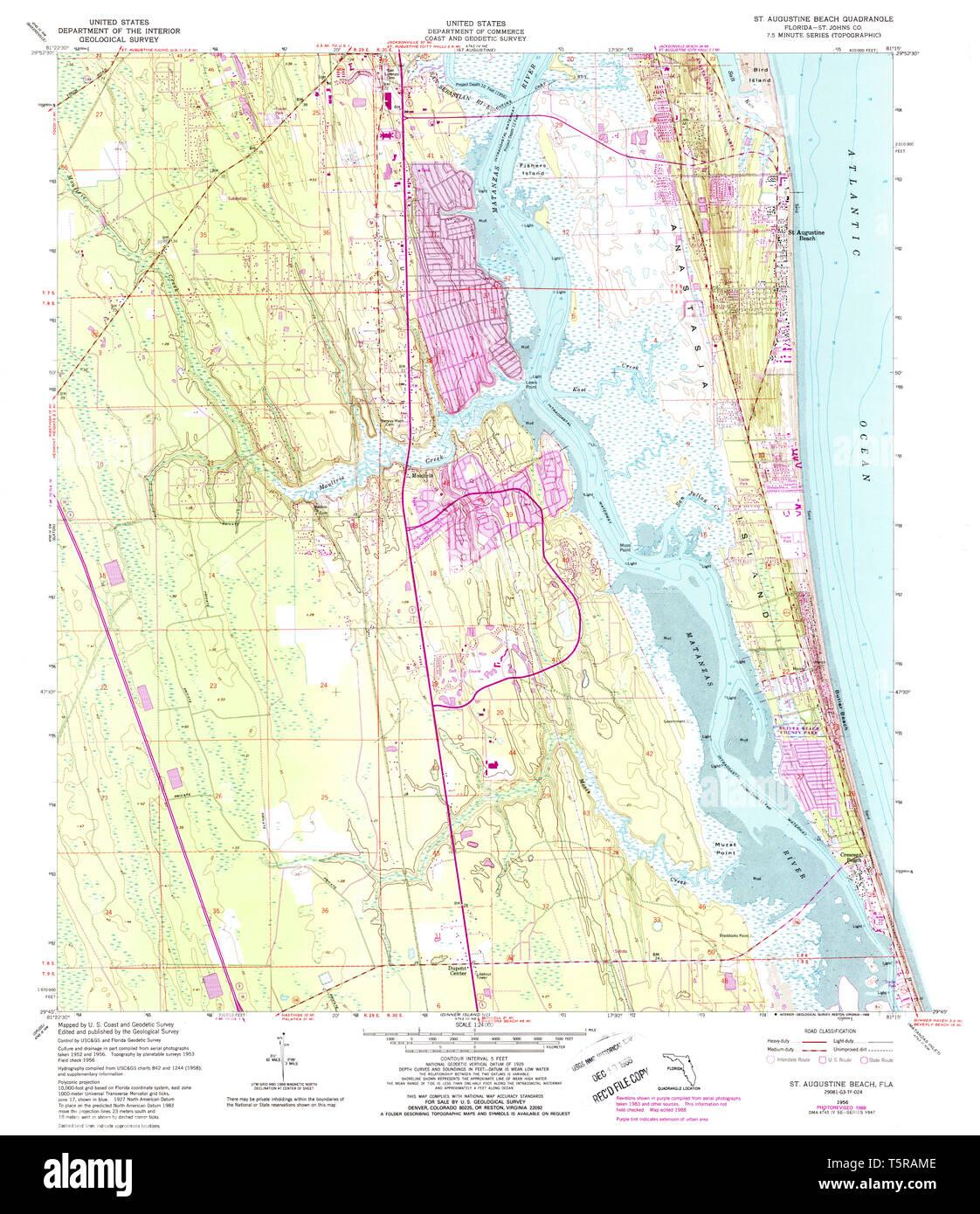 USGS TOPO Map Florida FL St Augustine Beach 348619 1956 ...