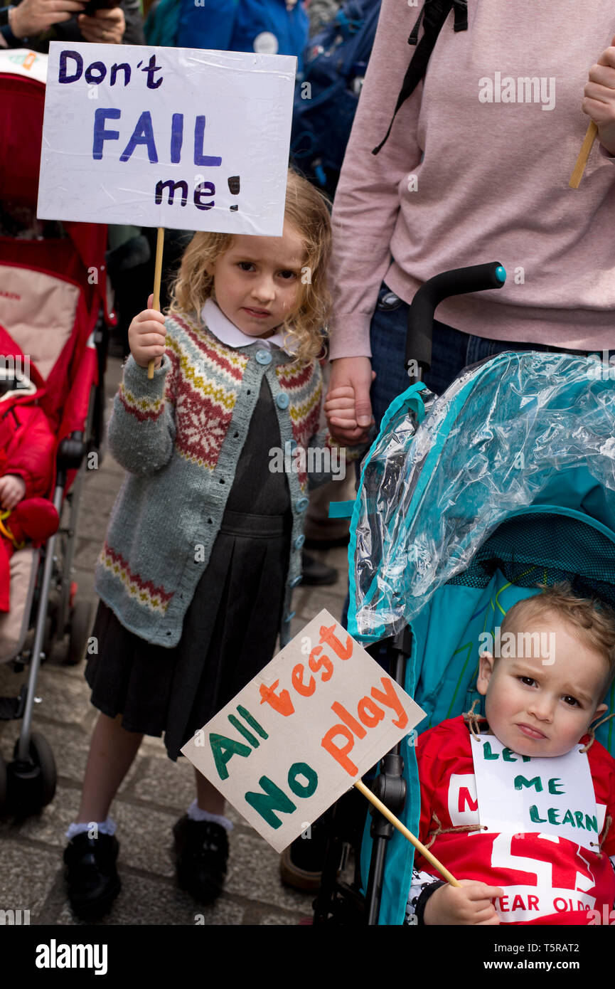Westminster April 25th 2019. 'March of the four year olds', a protest against testing organised by 'More than a score'. Elvie holds a sign saying 'Don - Stock Image