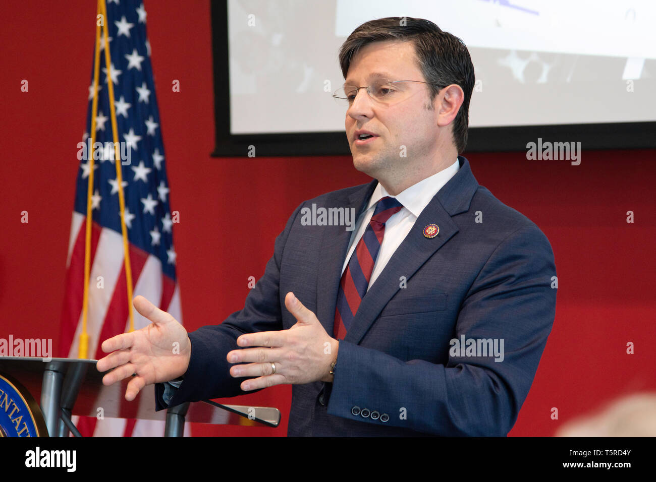 BOSSIER CITY, LA., U.S.A. - APRIL 25, 2019: U.S. Rep. Mike Johnson, R-La., speaks at a town-hall style meeting with constituents at Bossier Parish Com - Stock Image