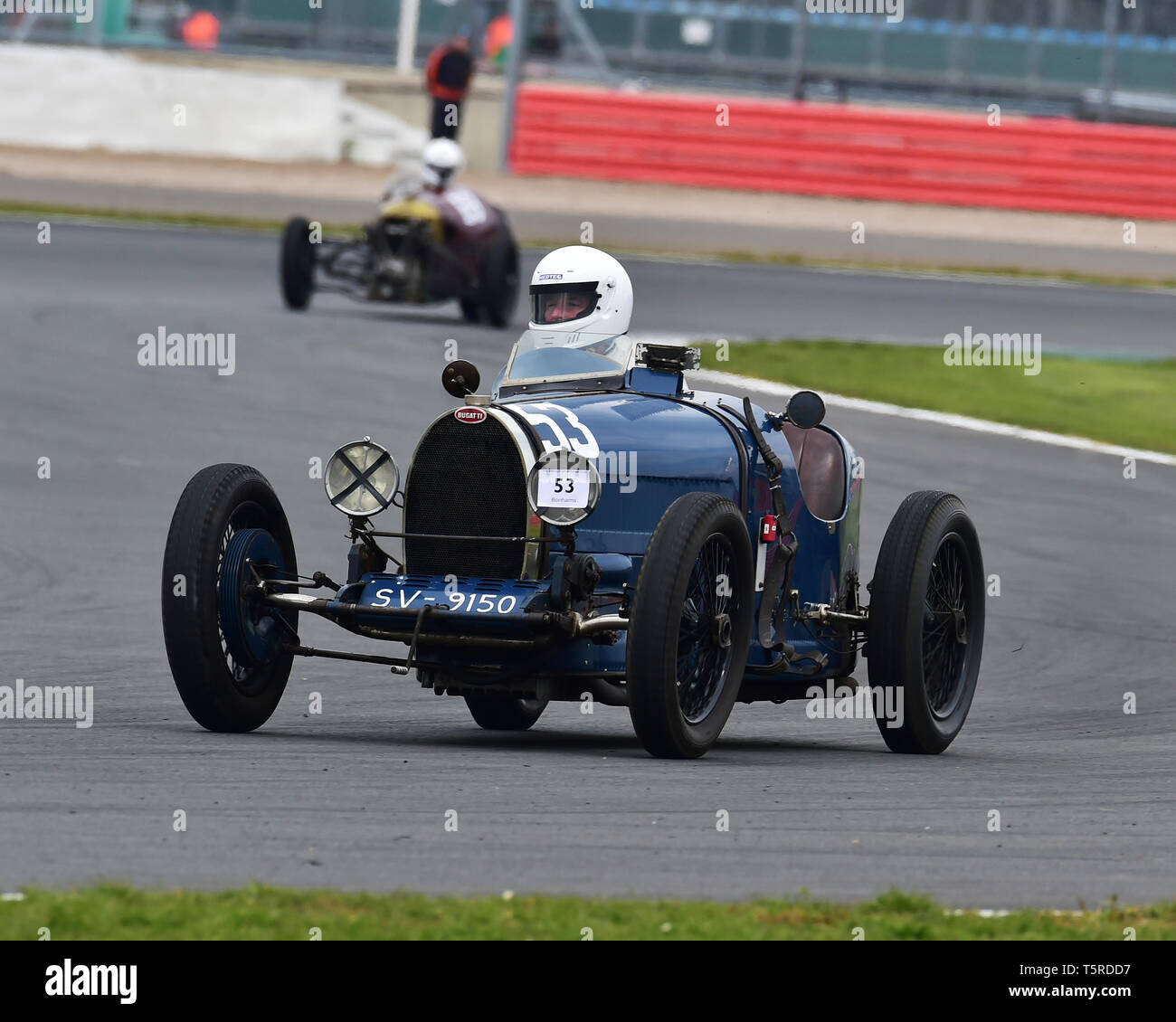 Bruce Stops, Bugatti T35/44, GP Italia and Lanchester Trophies Race, Vintage Racing Cars, VSCC, Formula Vintage, Silverstone, Northamptonshire, Englan - Stock Image