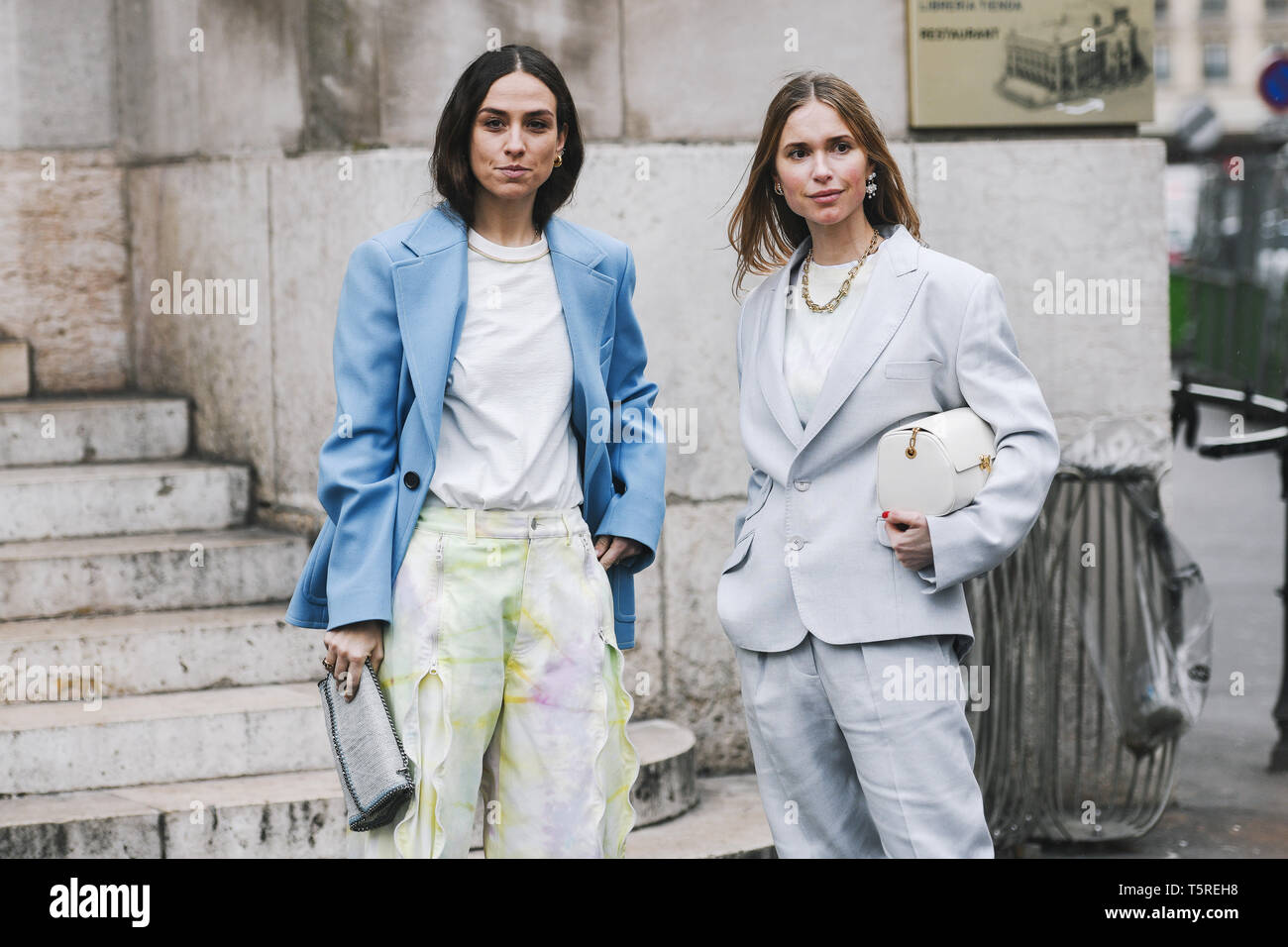 Paris, France - March 04, 2019: Street style outfit -  Erika Boldrin, Pernille Teisbaek after a fashion show during Paris Fashion Week - PFWFW19 - Stock Image