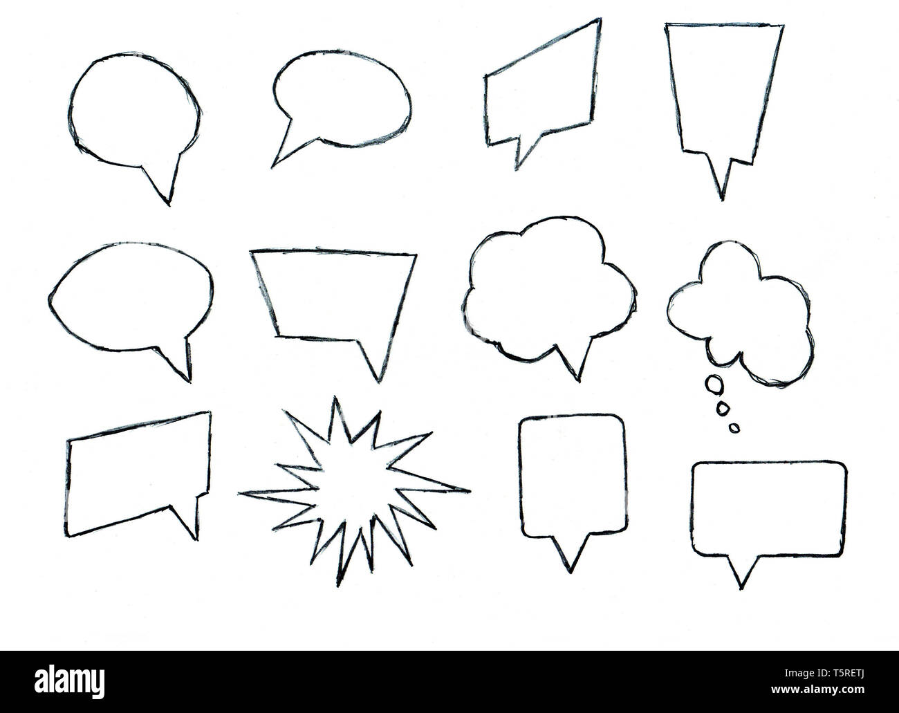 Set of pencil-drawn speech bubbles for design and decoration of chat dialogues animation or comics, flat design - Stock Image