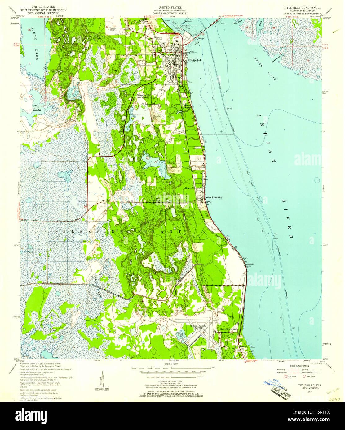 USGS TOPO Map Florida FL Titusville 348867 1949 24000 ...