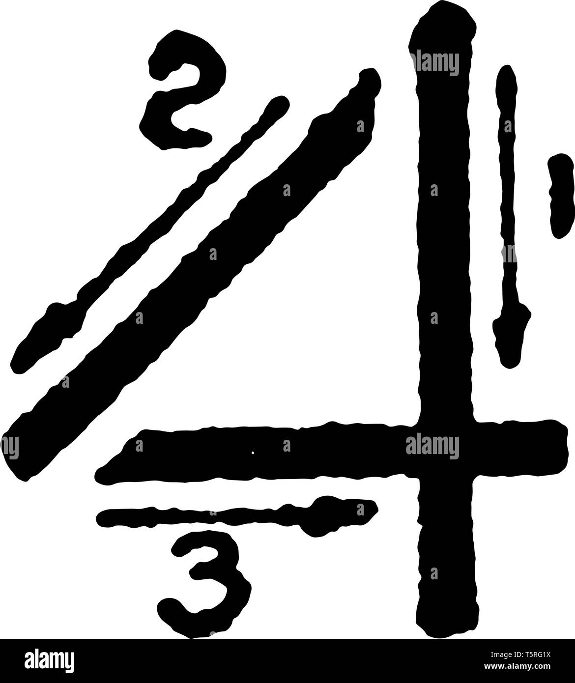 This is a picture of stroke technique for writing number 4 in commercial gothic, vintage line drawing or engraving illustration. Stock Vector