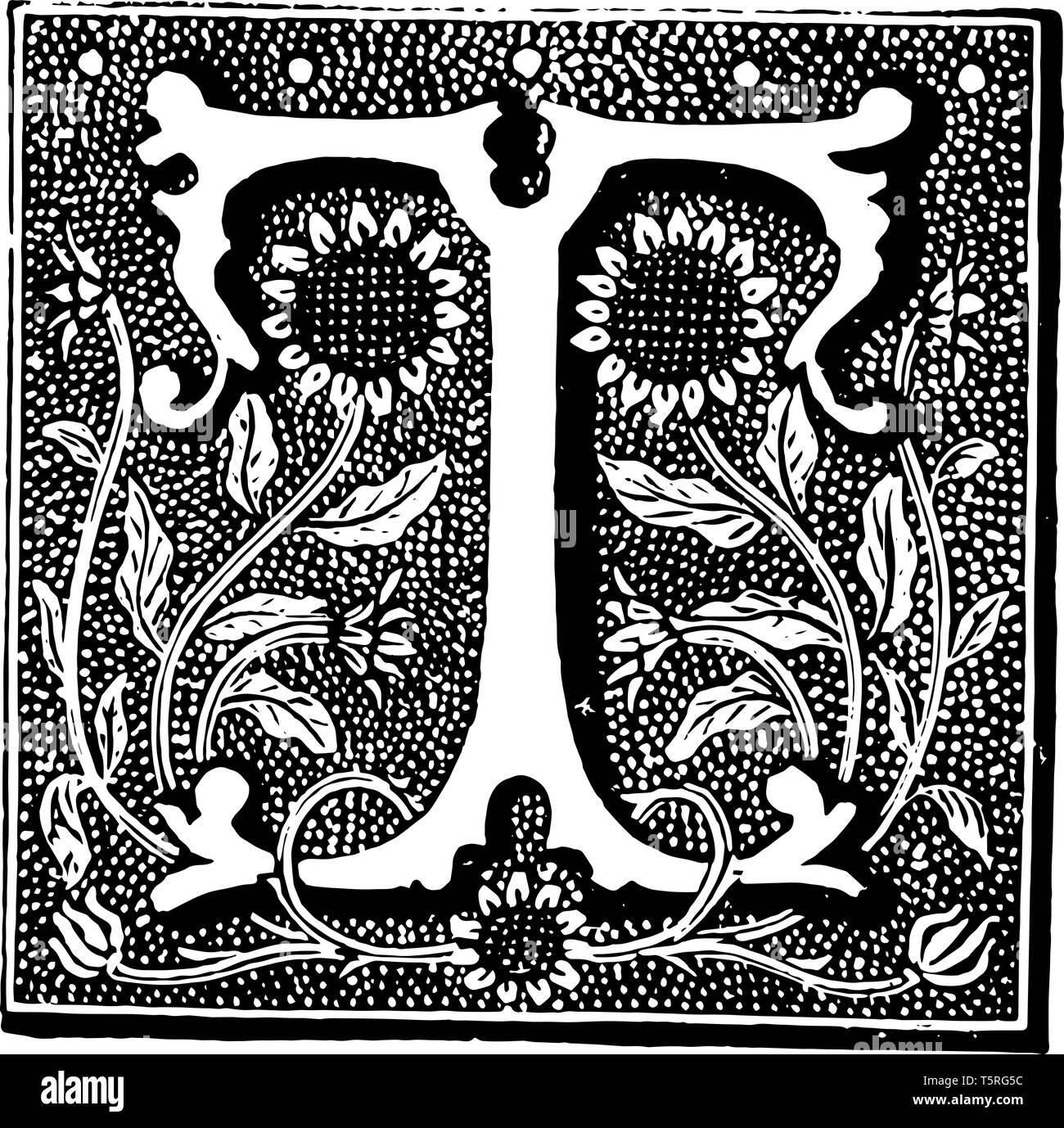 A picture of a decorative letter T with two sunflowers, vintage line drawing or engraving illustration. Stock Vector