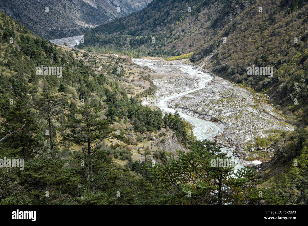 River at the bottom of the valley en route to Lhedi, Gasa District, Snowman Trek, Bhutan Stock Photo