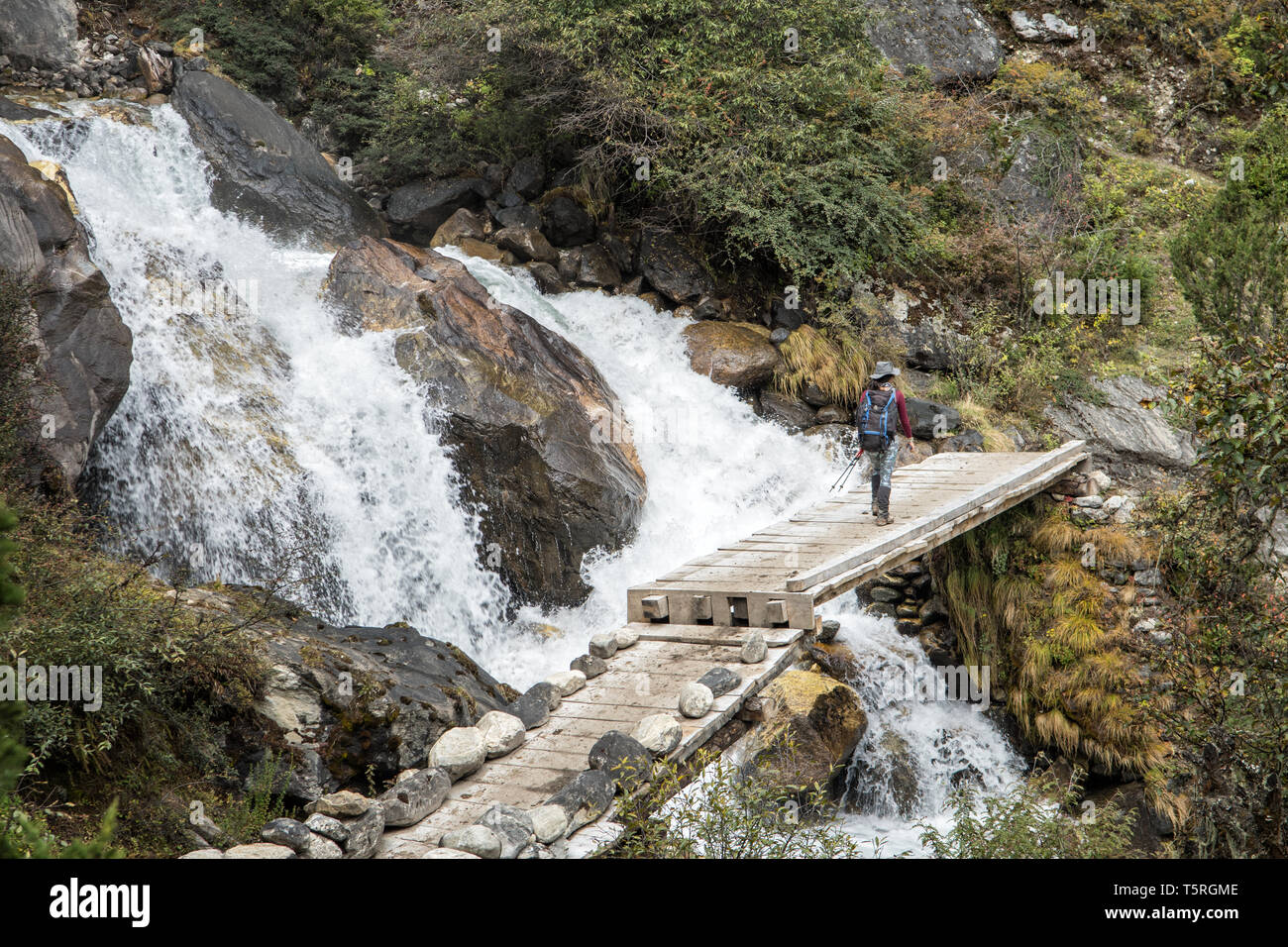 Cascades and bridge en route to Lhedi, Gasa District, Snowman Trek, Bhutan Stock Photo