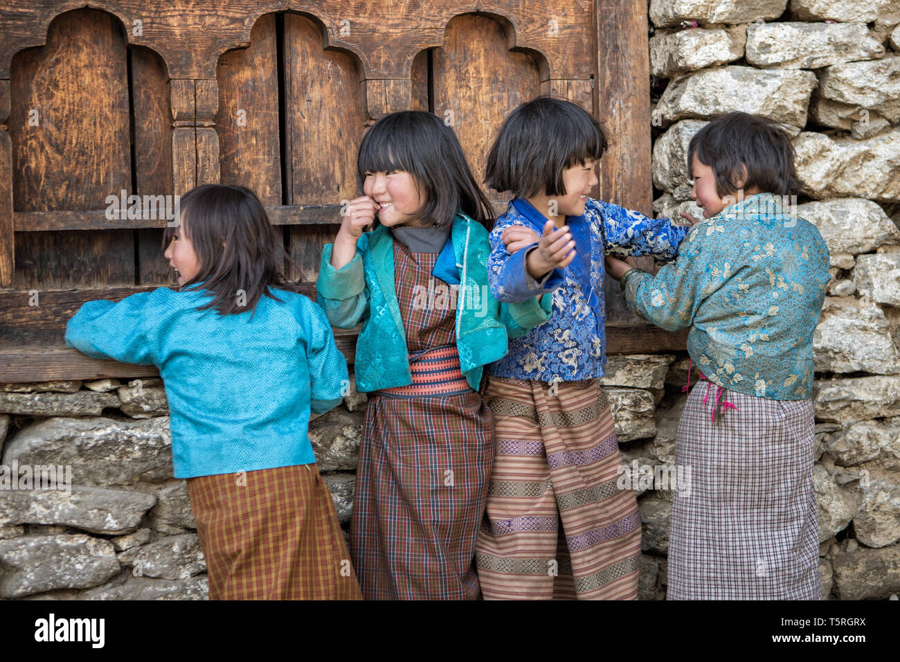 Happy children of Lhedi, Lunana Gewog, Gasa District, Snowman Trek, Bhutan - Stock Image