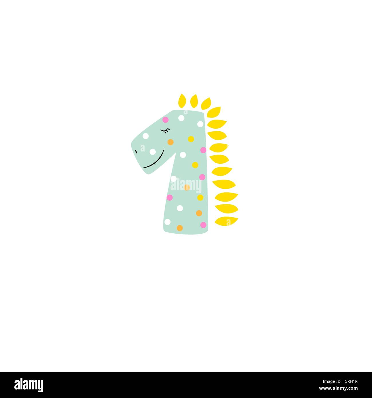 Cute dino card kids cartoon design logo template. - Stock Vector