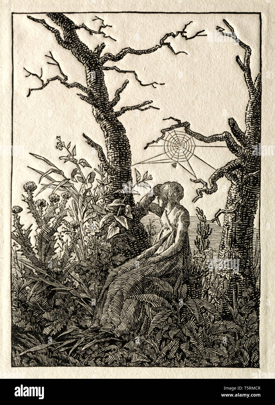 Caspar David Friedrich, The Woman with the Spider Web between Bare Trees, woodcut print, 1803 - Stock Image