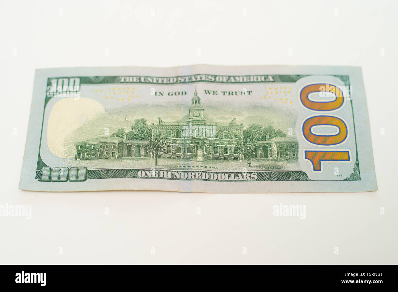 The back of a One hundred dollar bill. - Stock Image