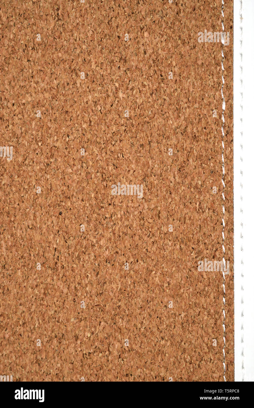 wooden texture of Cork Cover Journal (Notebook, Diary) with white part - Stock Image
