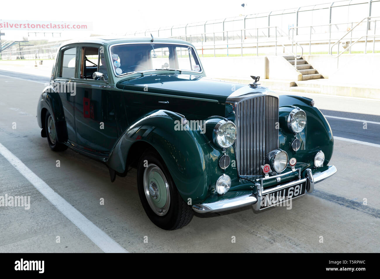 Three-quarter front view of a Green, 1953 Bentley R-Type, part of the Bentley Centenary Celebrations at the 2019 Silverstone Classic Media Day - Stock Image