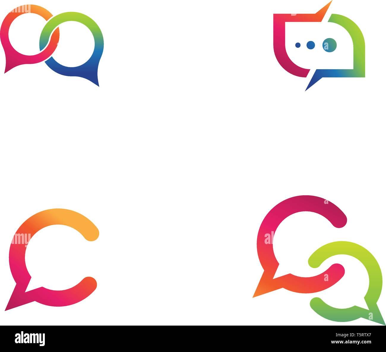 b1767438aeab09 Speech bubble icon Logo template vector illustration Stock Vector ...