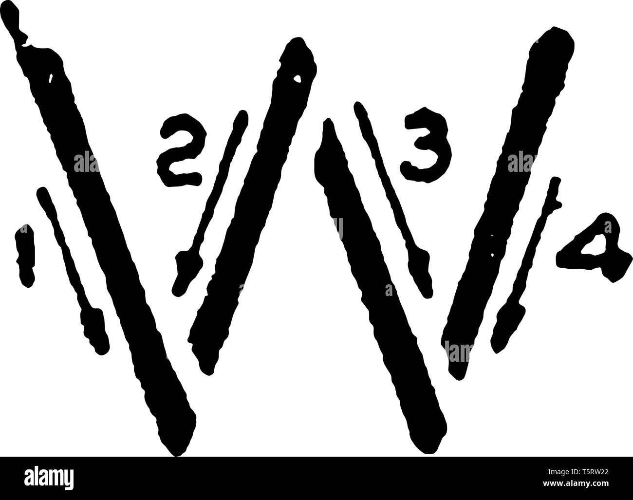 This is a picture of stroke technique for writing letter W in commercial gothic, vintage line drawing or engraving illustration. Stock Vector