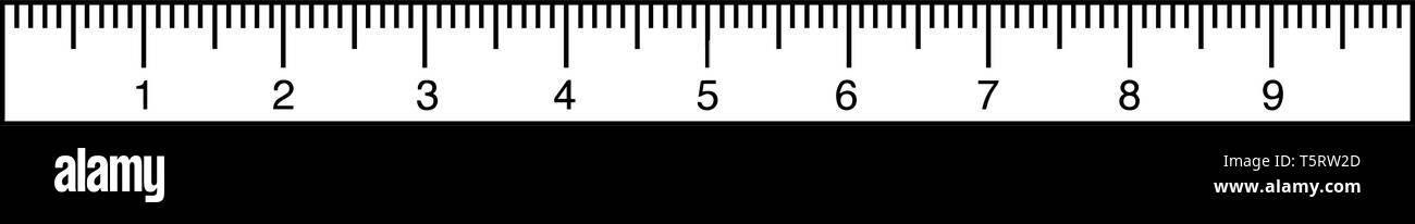 On a metric ruler, the numbers represent centimeters. The individual lines between the numbers represent millimeters, vintage line drawing or engravin - Stock Vector