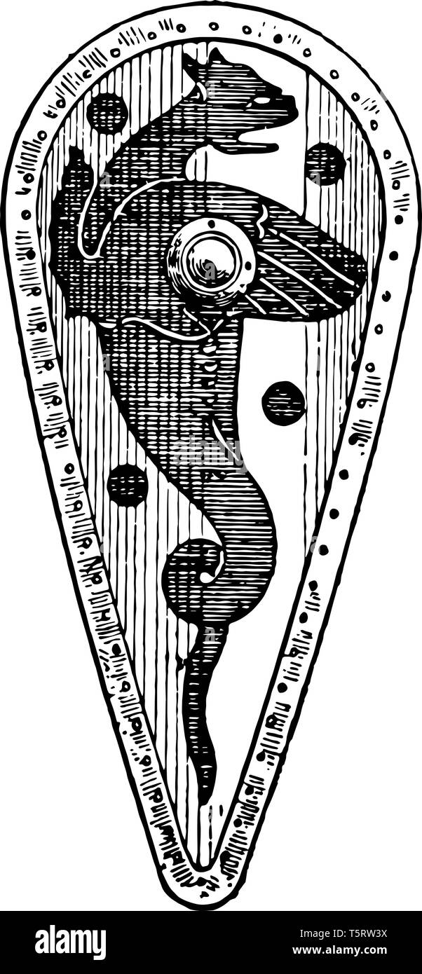 Kite Shield of the 10th or 11th century considered the beginning of the High Middle Ages, vintage line drawing or engraving illustration. - Stock Vector
