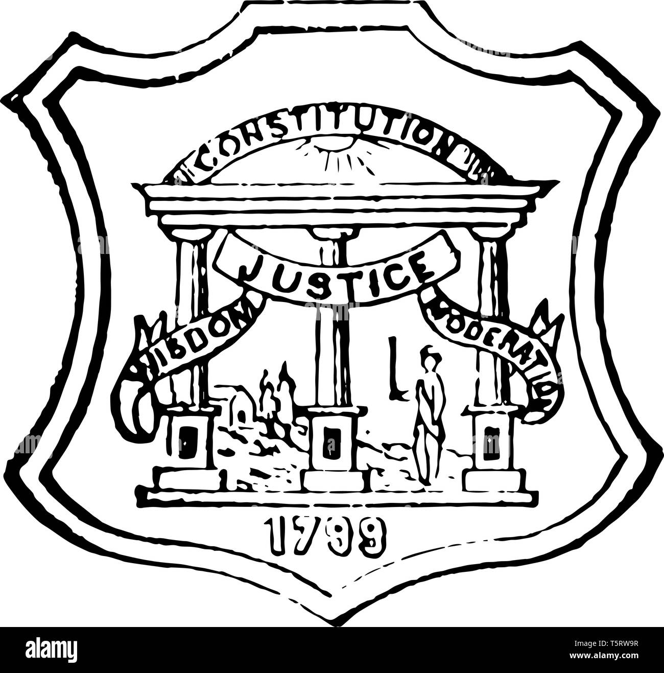 Georgia State Seal Is Symbol Of Authority And Sovereignty Vintage Line Drawing Stock Vector Image Art Alamy