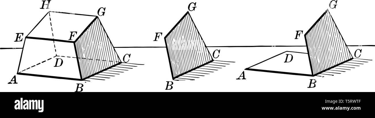 A Hexahedron diagram with faces and vertices is shown, vintage line drawing or engraving illustration. - Stock Image