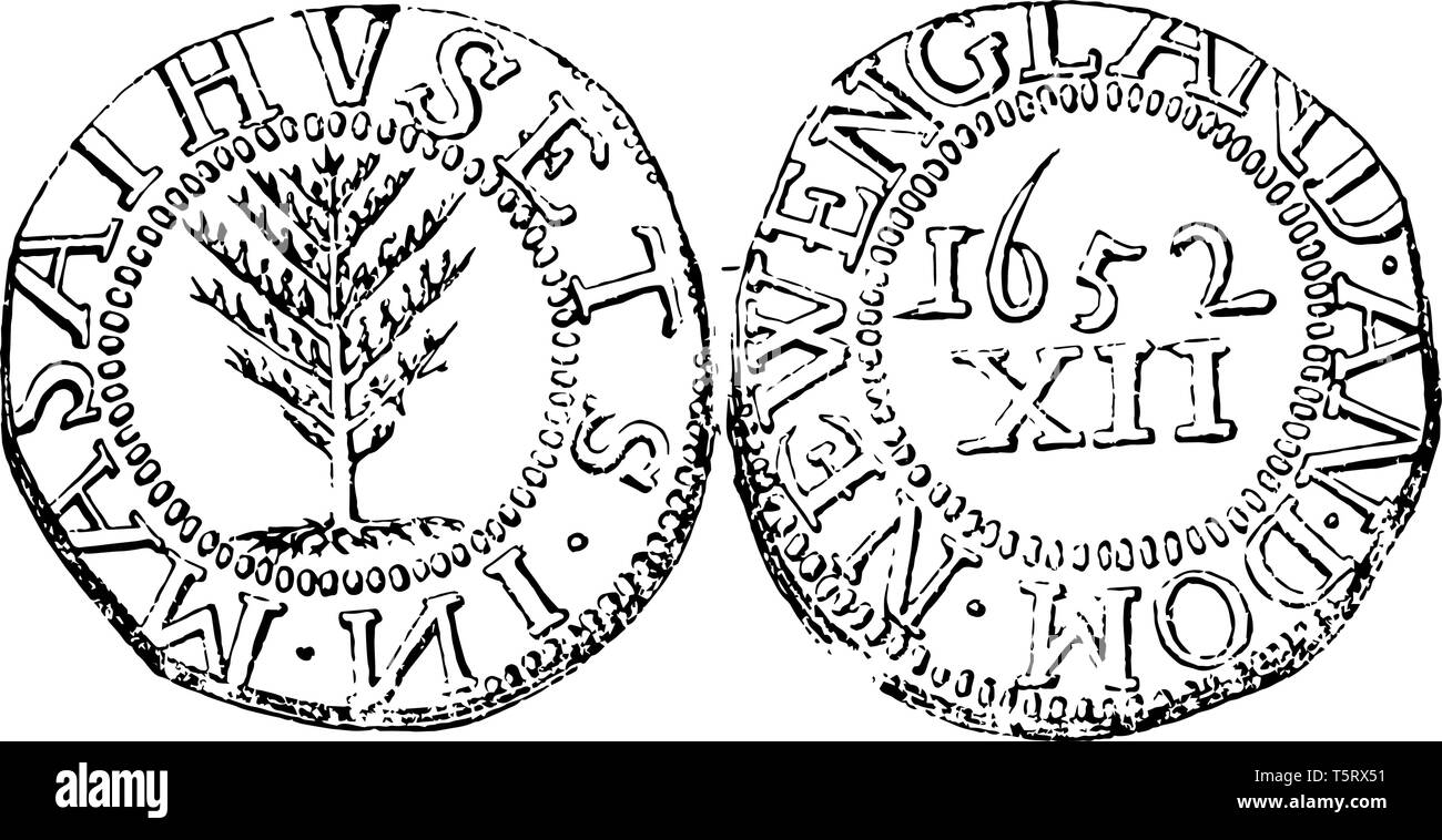 A picture is showing Silver Massachusetts XII Pence Coin, 1652. On this coin has an image of pine tree and other side are has a value in roman numeral - Stock Image