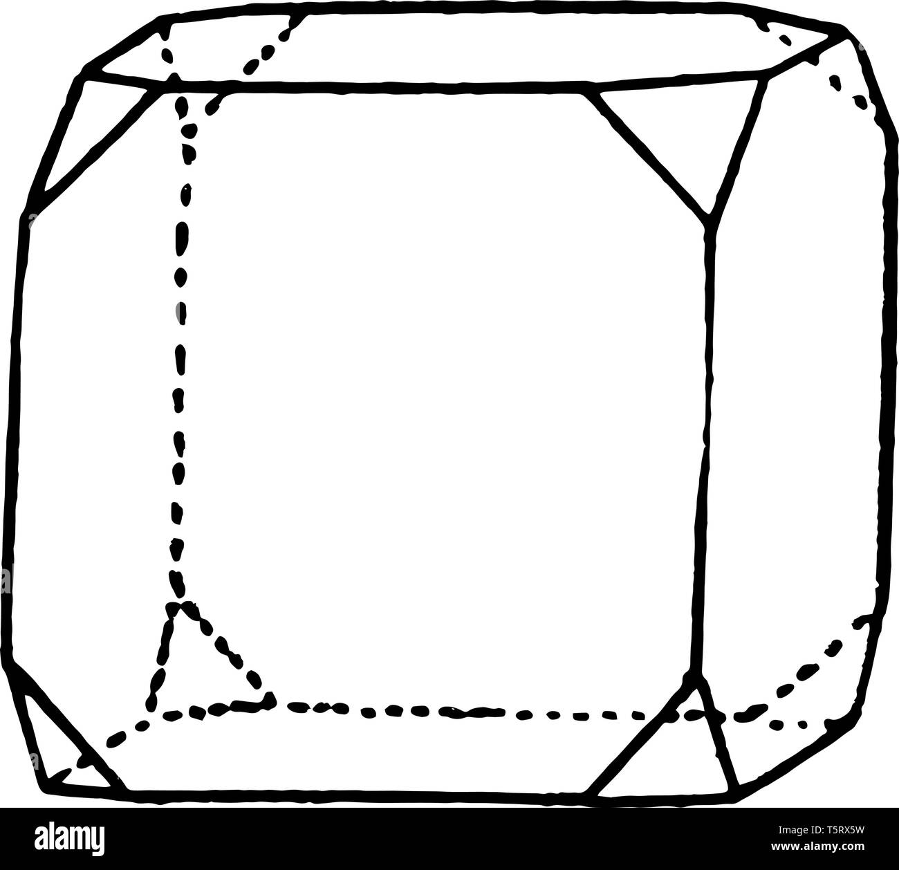 The sample combining a hexahedron and an octahedron. The angles of the triangular Cube, vintage line drawing or engraving illustration. - Stock Image