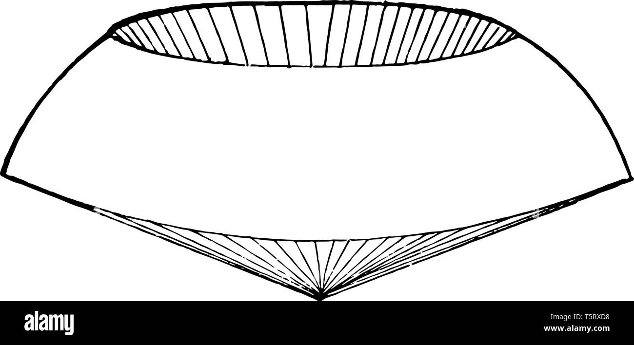 If an area rotates in the form of an axis of the radius of its range, then it produces what can be called a spherical cone, vintage line drawing or en - Stock Vector