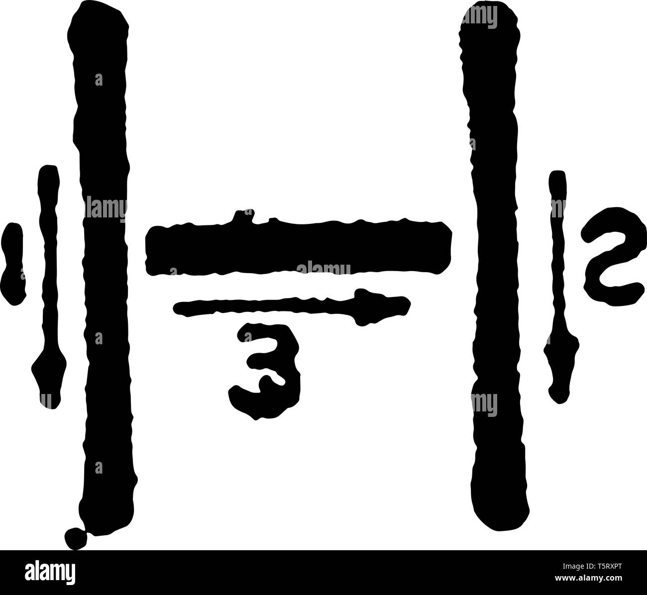 This is a picture of stroke technique for writing letter H in commercial gothic, vintage line drawing or engraving illustration. Stock Vector