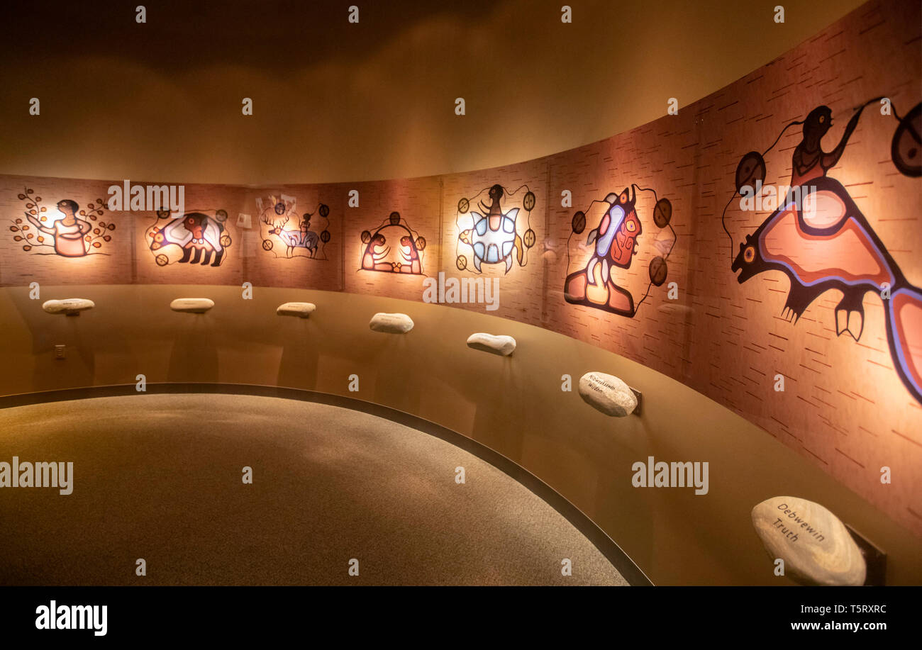 Mt. Pleasant, Michigan - An exhibit at the Ziibiwing Center of Anishinabe Culture & Lifeways illustrates the seven Anishinabe teachings: love, respect - Stock Image