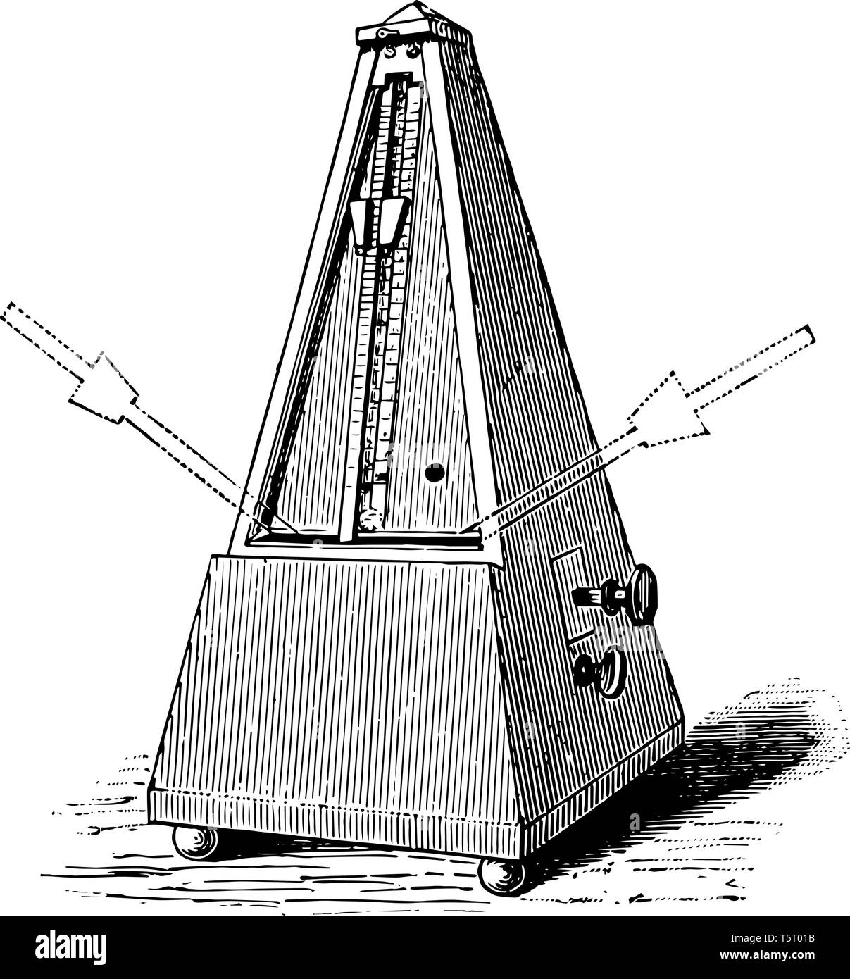 Maezel Metronome is any device that produces a regulated aural, vintage line drawing or engraving illustration. - Stock Image