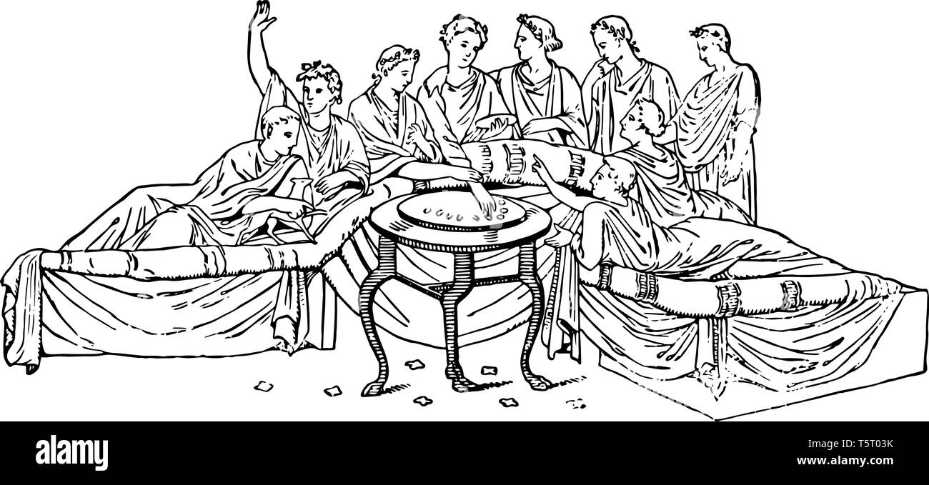 Real people sitting on the semi-formed sofa and food stand at the center table, vintage line drawing or engraving illustration. - Stock Vector