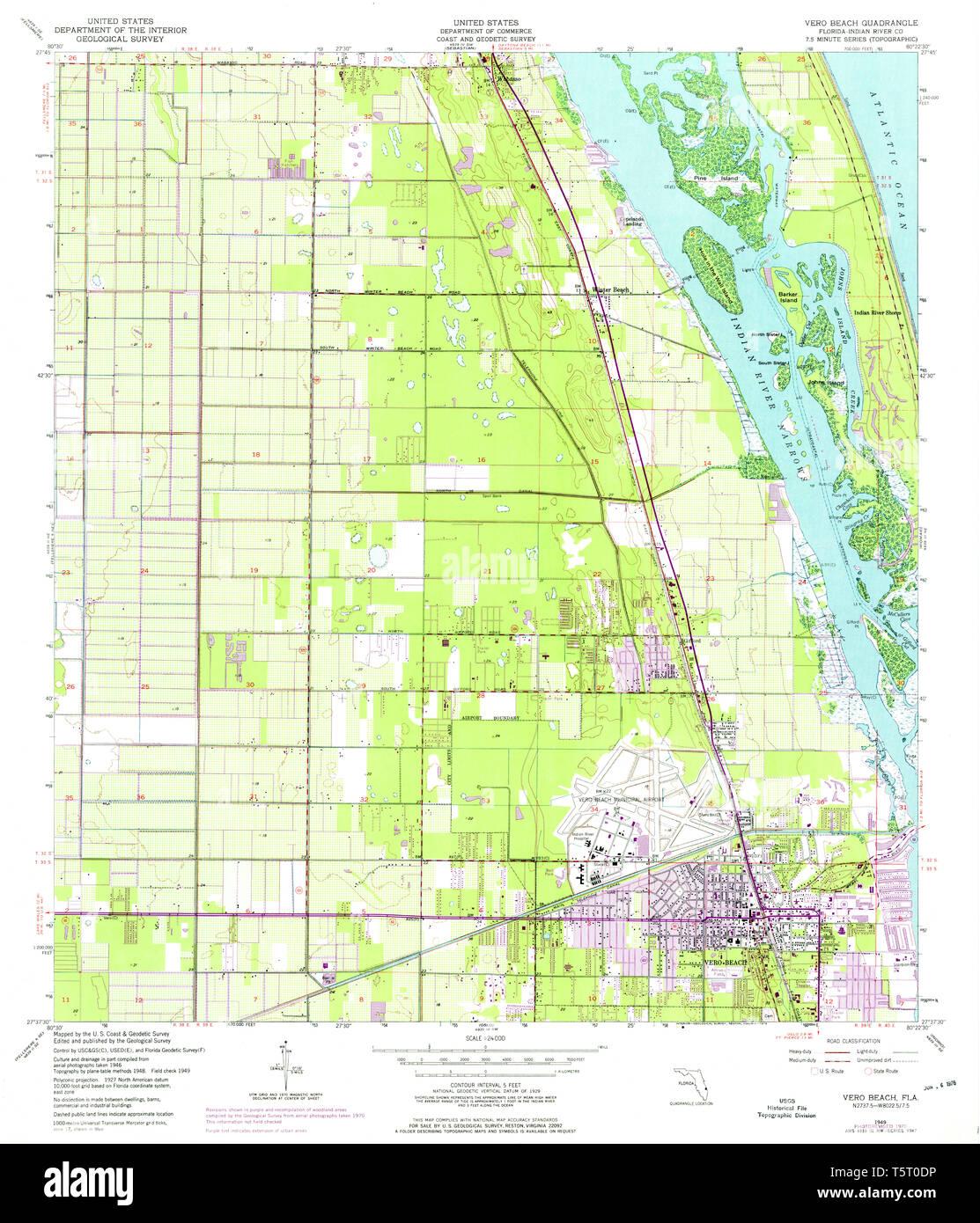 USGS TOPO Map Florida FL Vero Beach 348951 1949 24000 ...