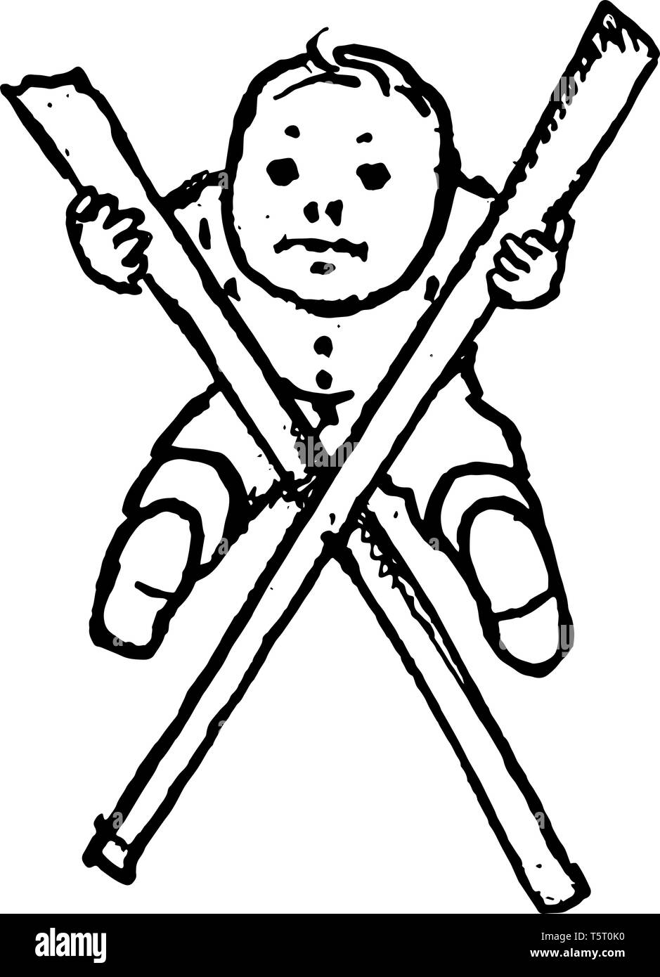 This picture shows the letter X. Letter X is appears with little baby. Small baby sitting on the angle of baby, vintage line drawing or engraving illu - Stock Vector