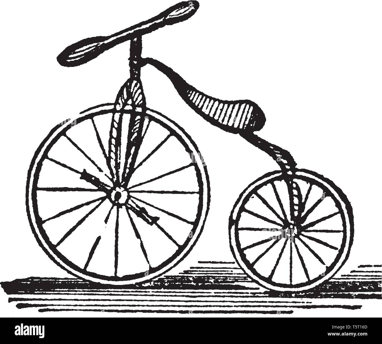 Velocipede is a light road carriage for a single person, vintage line drawing or engraving illustration. - Stock Image