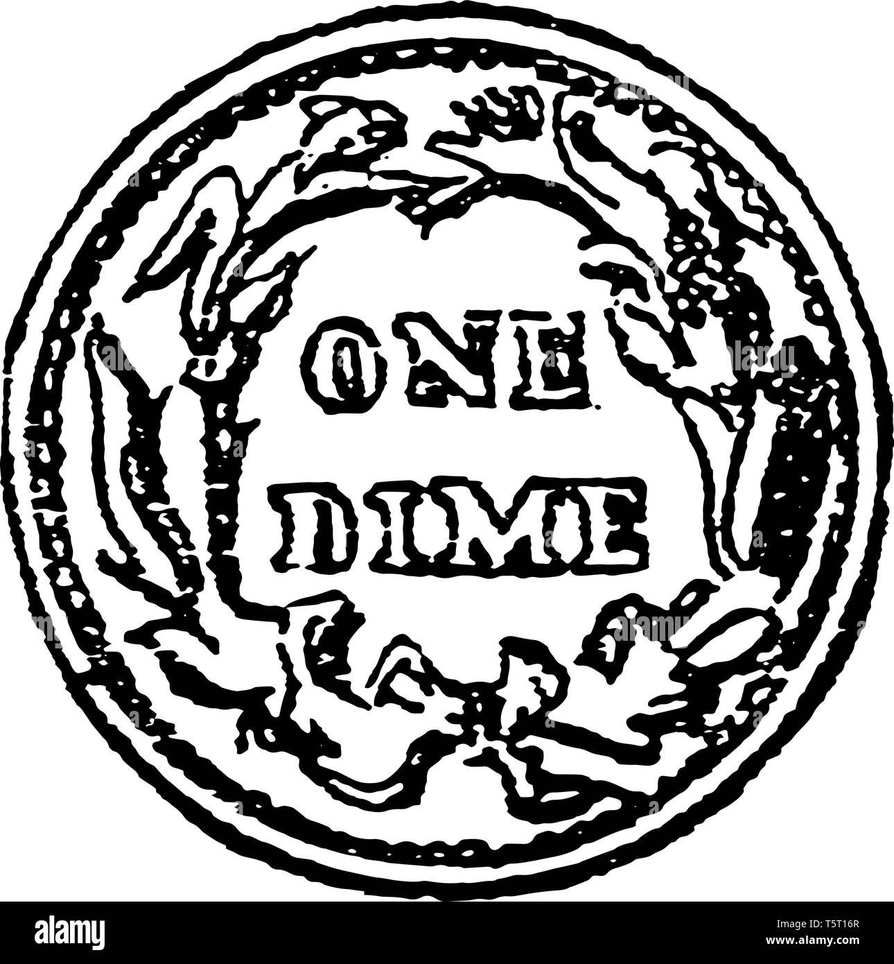 This is a penny coin in the united states of the value of ten cents vintage line drawing or engraving illustration