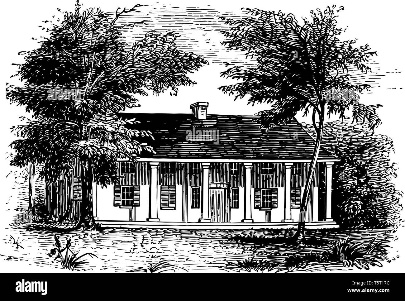 General Schuylers house built in 1777 , occupied by the British army during American Revolutionary war  vintage line drawing. - Stock Image