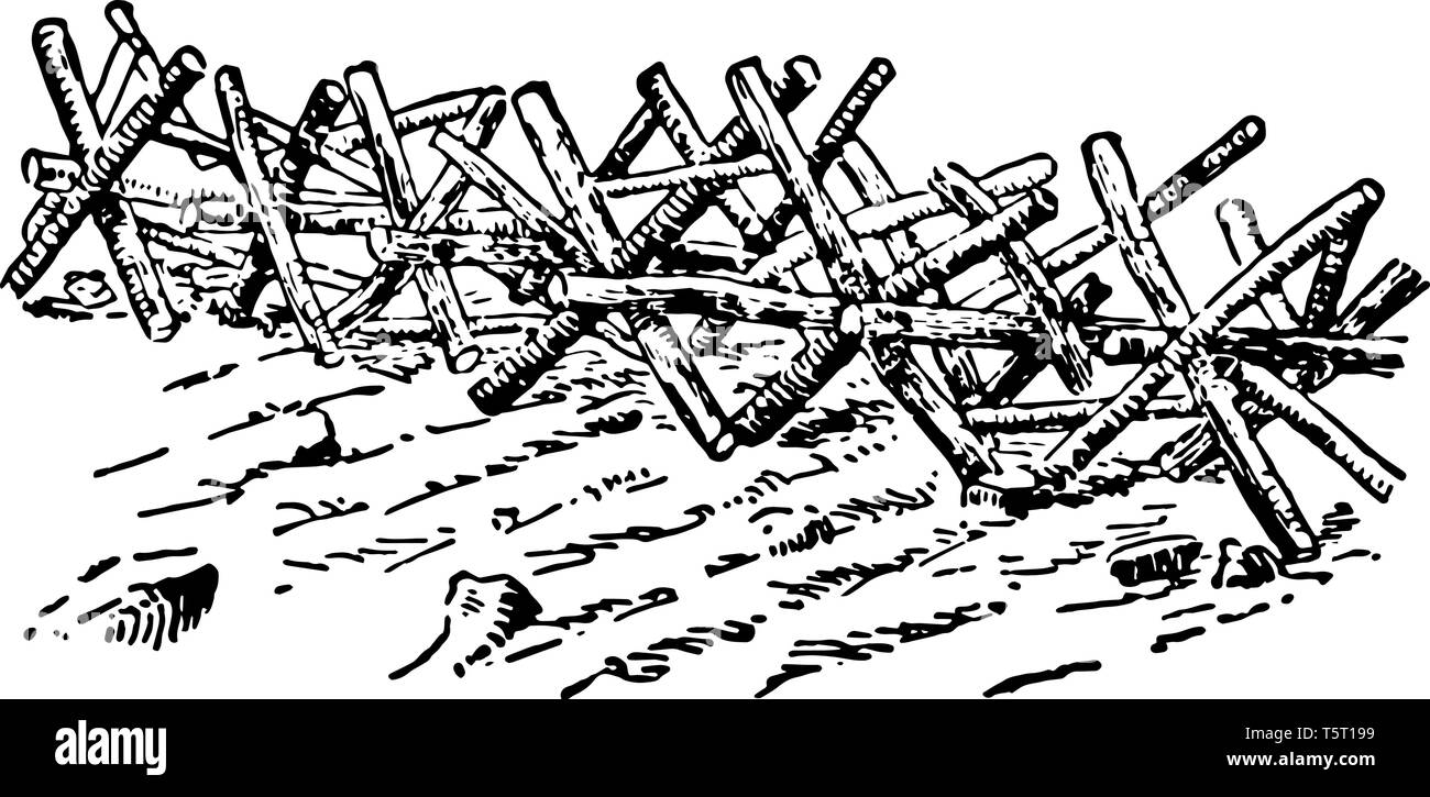 Cavalry barrier which is heavy obstacles employed in Manchuria by the Russians, vintage line drawing or engraving illustration. - Stock Vector