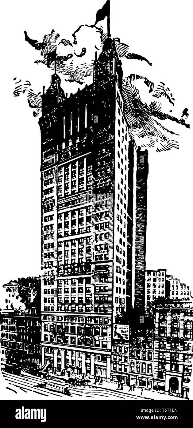 Park Row Building of New York is a steel skyscraper designed by R.H.Robertson vintage line drawing. - Stock Vector