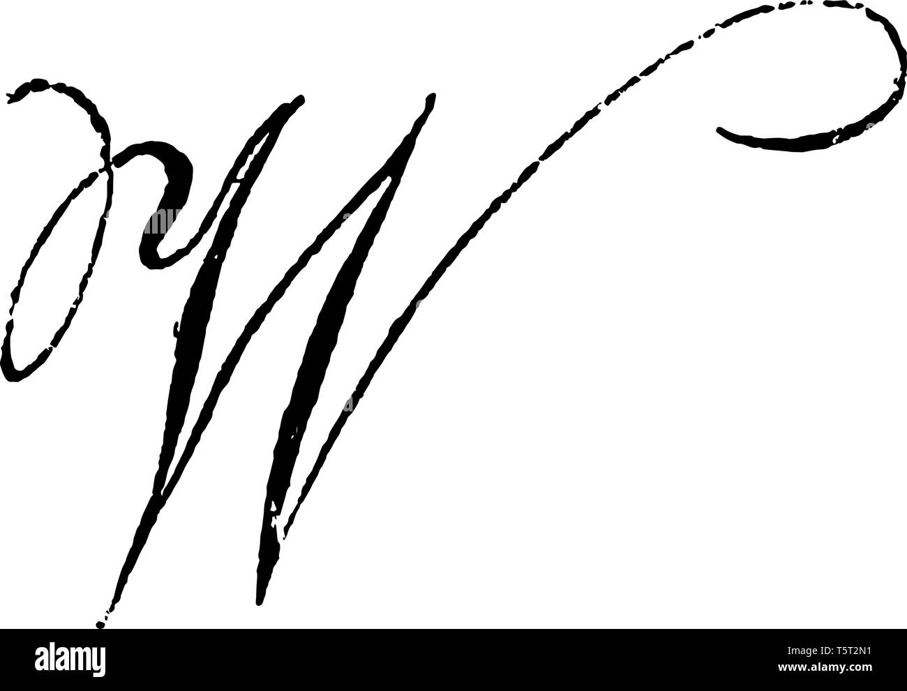 This picture includes the letter W. It appears in the italic format. It is the simple design of letter, vintage line drawing or engraving illustration - Stock Vector