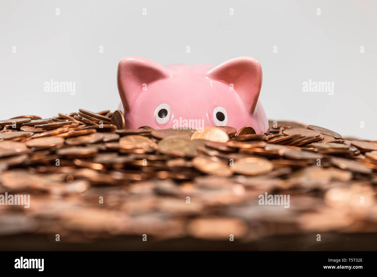 Pink piggy bank drowning in ocean of copper pennies. - Stock Image
