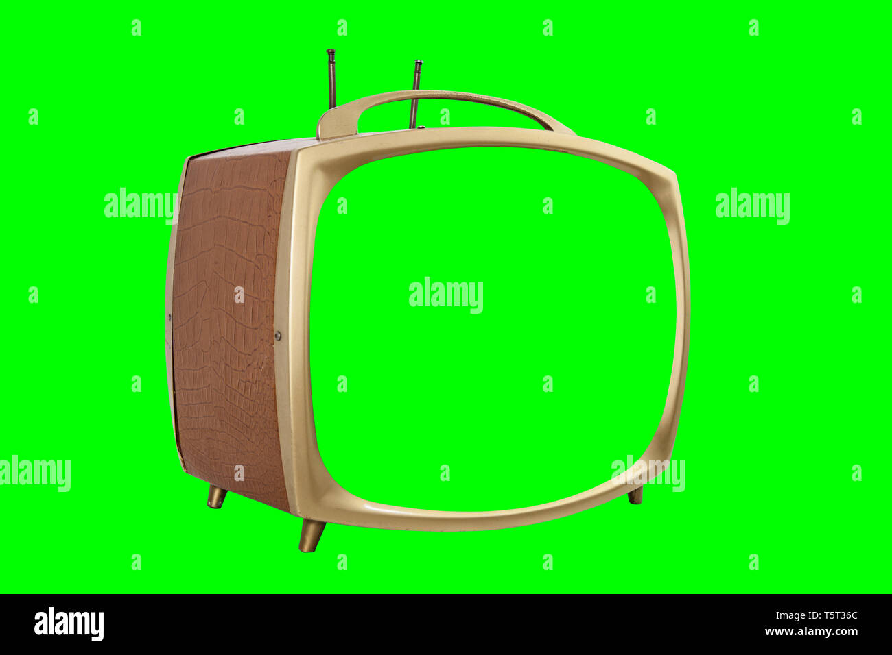 Retro 1950s portable television with chroma key green screen and background. - Stock Image