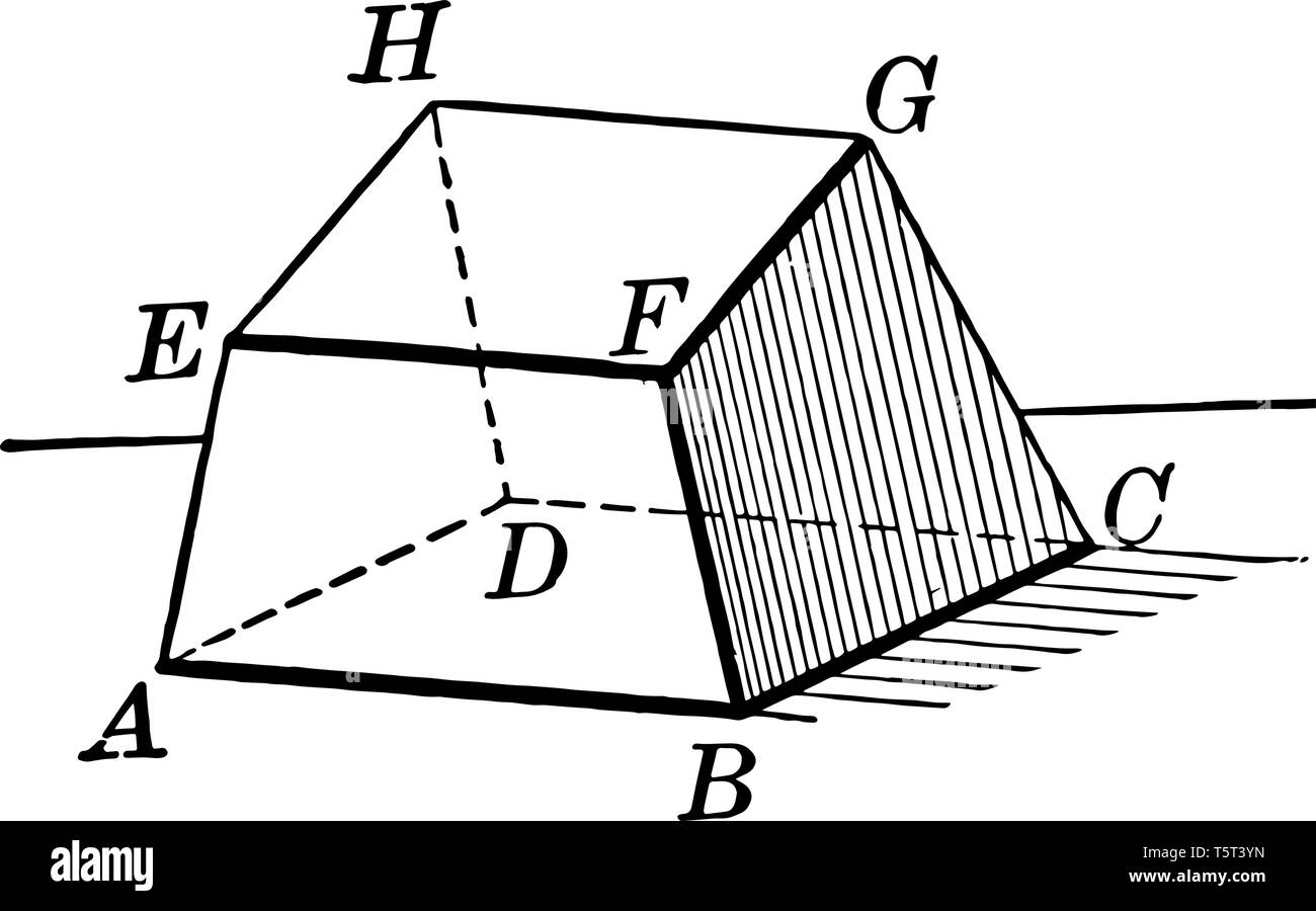 A hexahedron - polyhedron diagram with 6 faces, vintage line drawing or engraving illustration. - Stock Image