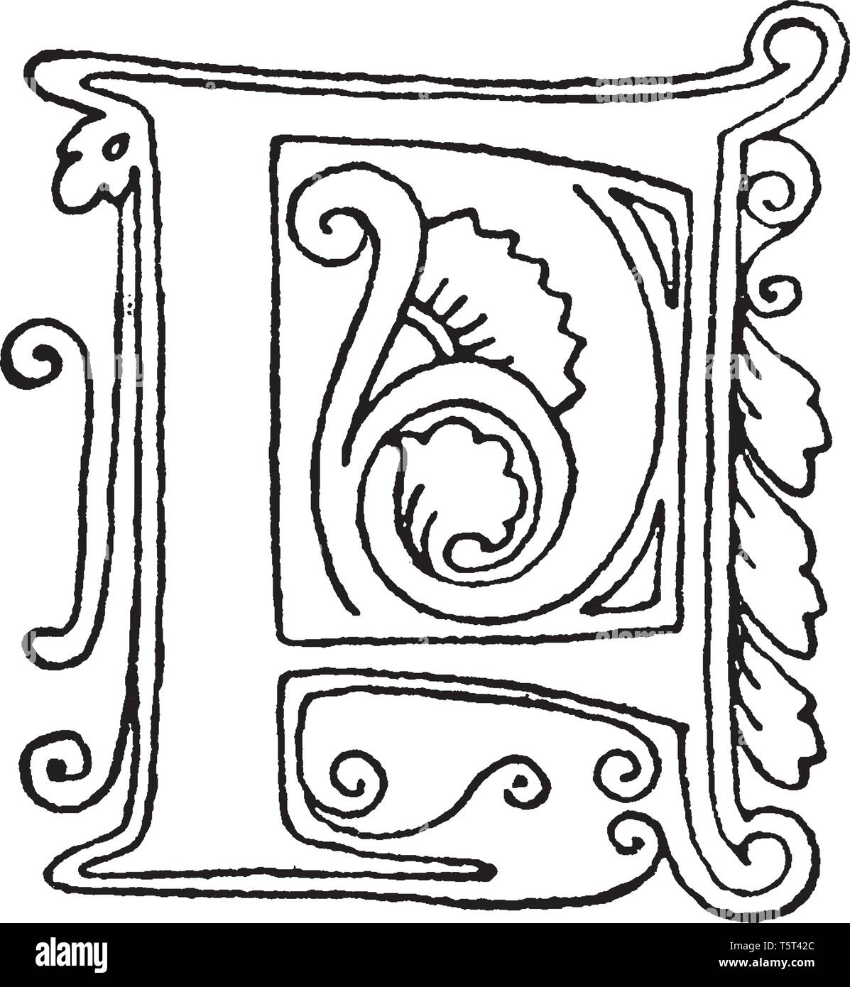 e5c9d1704 An ornamental capital letter A with vines and leaves, vintage line drawing  or engraving illustration