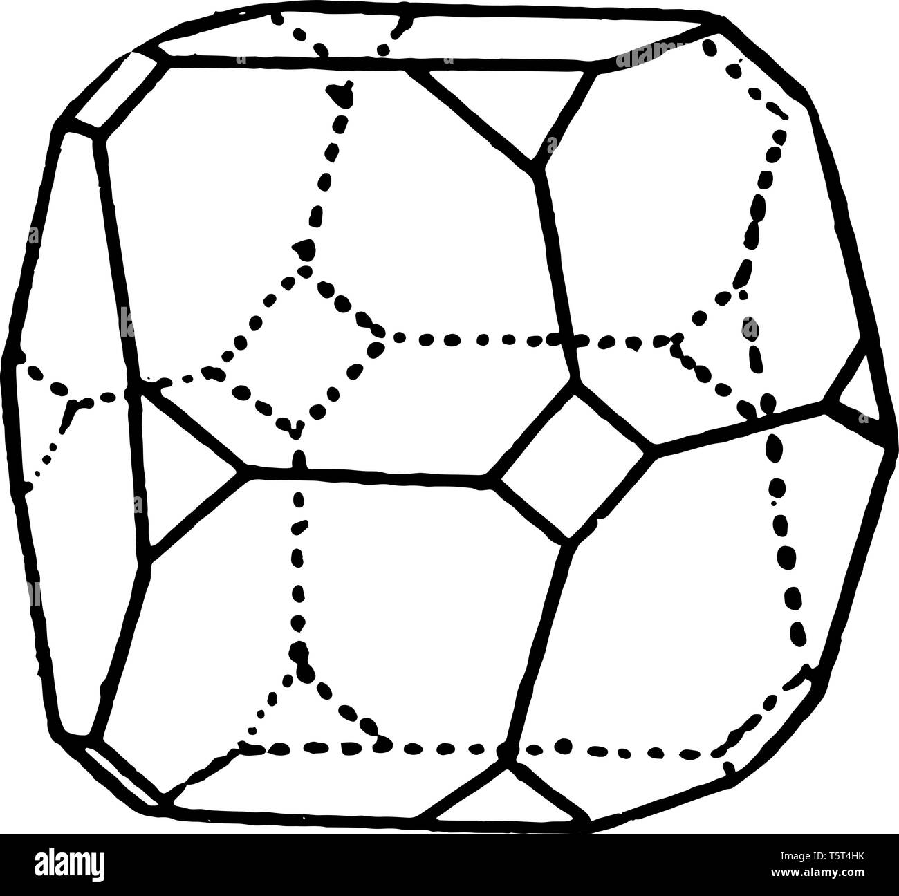 Crystallography appears in the figure in the box, vintage line drawing or engraving illustration. - Stock Vector