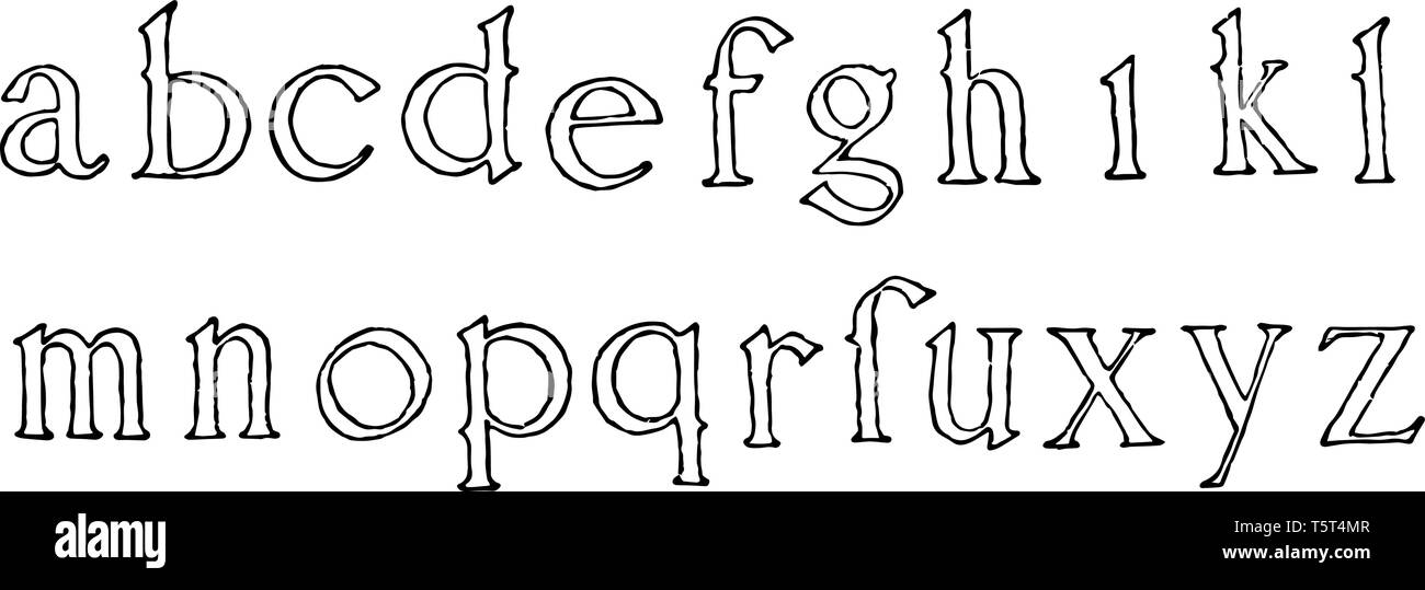 A picture showing lowercase alphabets of Roman Renaissance, vintage line drawing or engraving illustration. Stock Vector