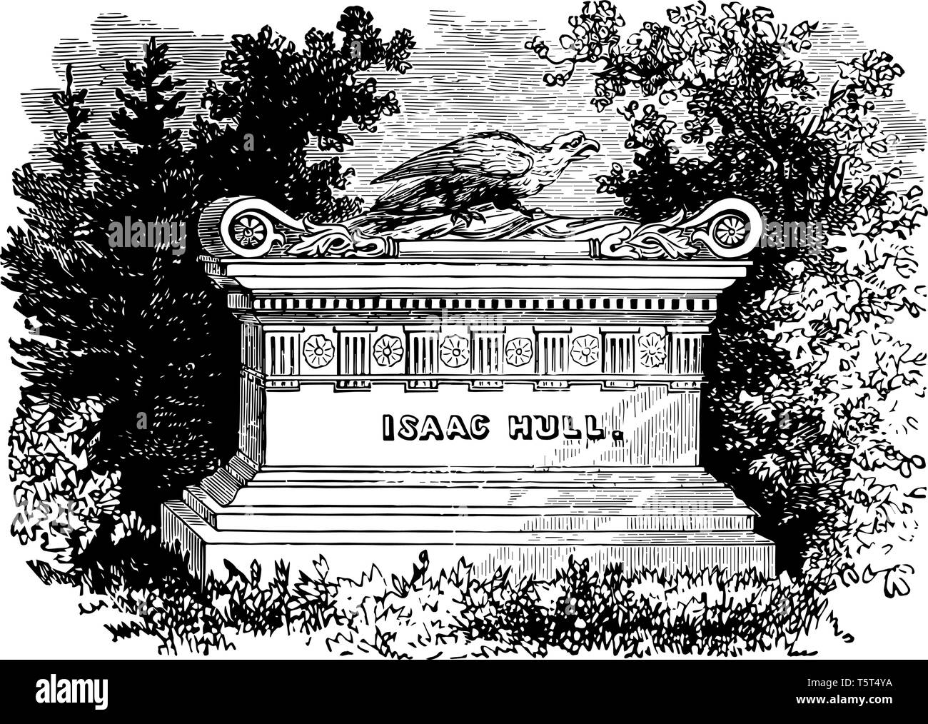 Isaac Hull's Monument in Philadelphia vintage line drawing. - Stock Vector