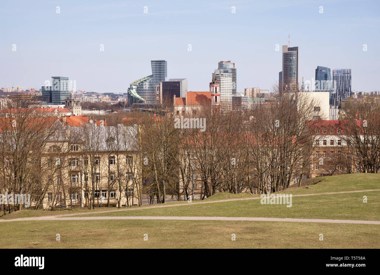 View of new city centre at Snipiskes  district from Tauras hill in Vilnius. Lithuania Stock Photo