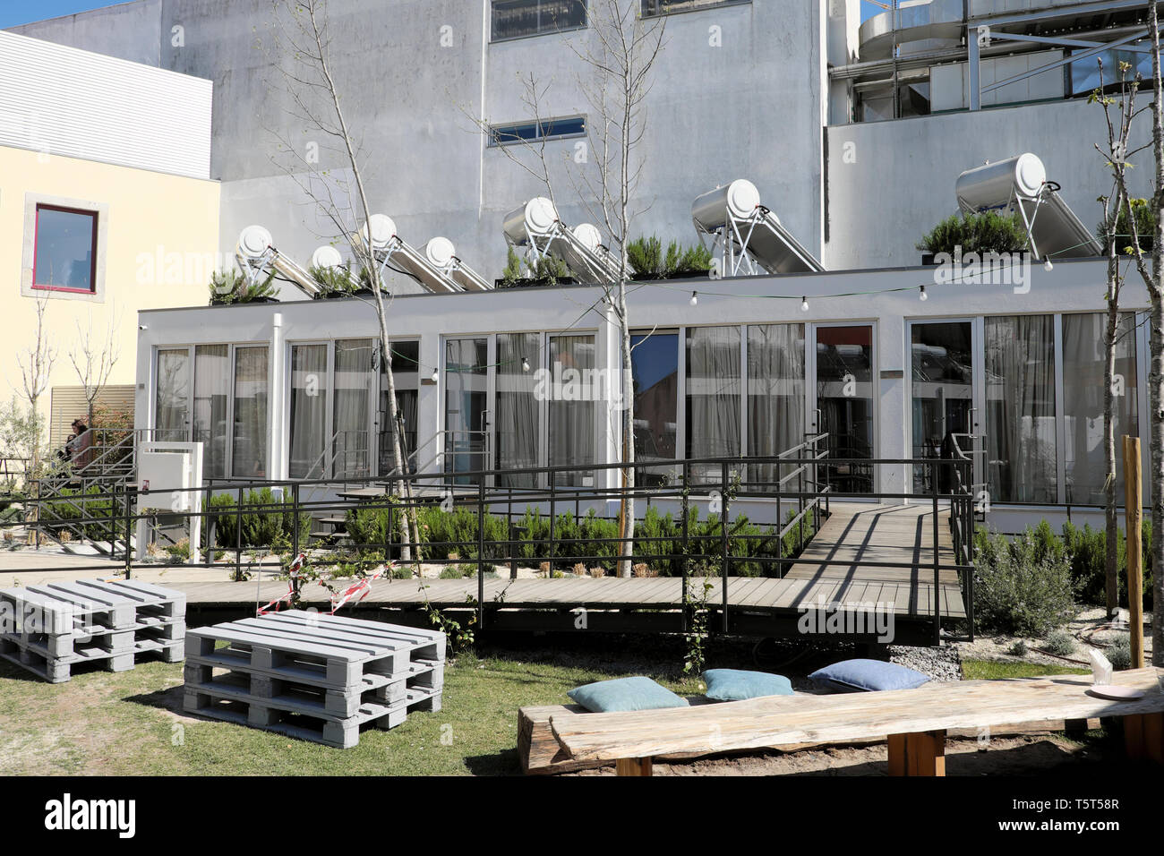 Selina Youth Hostel exterior view with solar panels on each individual room in the Portuguese city of Porto Oporto Portugal Europe EU  KATHY DEWITT - Stock Image